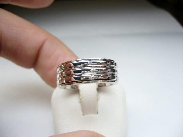 [吉宏精品交流中心]PIAGET 伯爵 三環 原鑲鑽石 18白K金 戒指(52號)