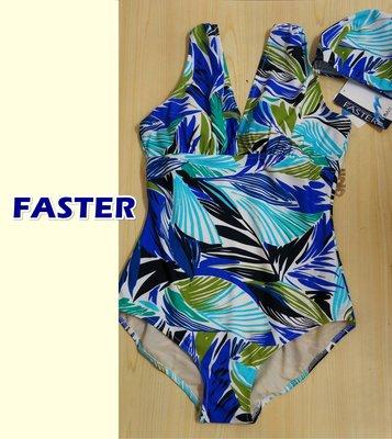 KINI零碼LL-特價1980元 名人泳裝A22561-專櫃連身三角泳衣*顯瘦靚青藍花紋-塑身機能型款