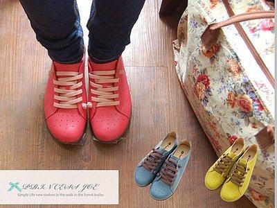 ☆╮喬伊公主╭☆【ES121526】專櫃2580特價品1280真皮撞色巴黎優雅休閒風台灣製手工氣墊鞋