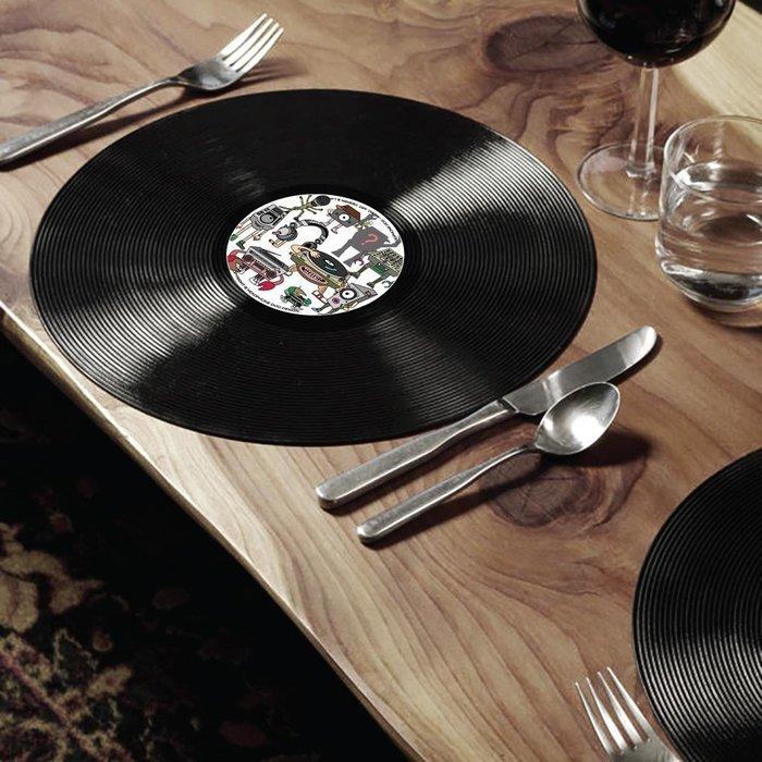 個性黑膠唱片造型 餐墊/桌墊x2片入