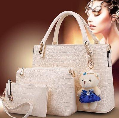 【優上精品】秋季鱷魚紋女包子母包三件套大包包單肩包手提包(Z-P3156)