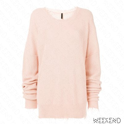 【WEEKEND】 UNRAVEL 長版 寬鬆 破壞 不修邊 落肩 針織 毛衣 粉色 18春夏新款