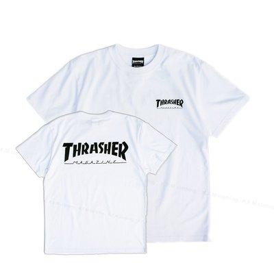 【 K.F.M 】THRASHER HOMETOWN FRONT BACK T-Shirt 日本限定 短T 短袖 白色