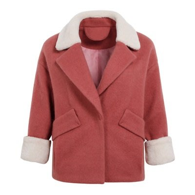 毛呢 外套 短版大衣-羊羔毛拼接翻領優雅女外套2色73ui13[獨家進口][米蘭精品]