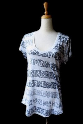 *Beauty*ARMANI EXCHANGE黑色條紋字母短袖棉T恤 原價1690元 售1000元 JW