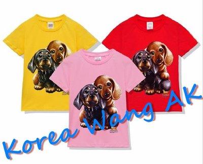 Korea Wang AK ~(預購)台灣原創獨家設計 美國純棉 限定版 麻吉臘腸狗兒童青少年版T 六款【P044】