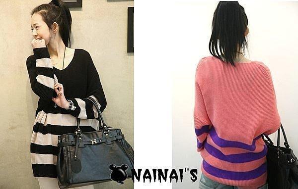 【NAINAIS】Bliss‧5932 韓版 撞色條紋長版V字寬鬆毛衣 粉色底白條紋 現貨