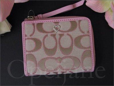 Coach Wallet 愛心裝飾粉紅色中夾短夾皮夾名牌精品可放零錢╭*特價 免運費 愛Coach包包