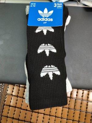 Adidas Originals 三葉草復古長筒襪 黑白灰 三入裝 尺寸6-12