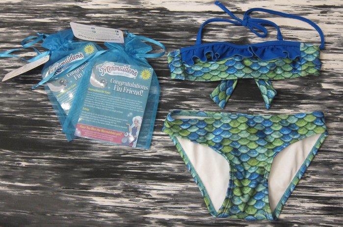 二手轉售 - 真品!美國FinFunMermaid美人魚造型兒童女童泳裝比基尼BIKINI SET(上下身組)戲水必備