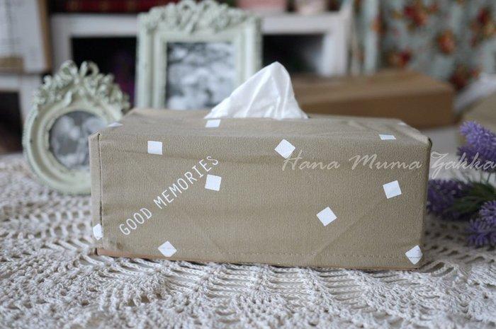 面紙盒 英文 方塊 卡其色  棉質 牛皮紙盒 法式 鄉村風 裝飾 廁所 房間 花木馬 ZAKKA 米色 咖啡色 衛生紙盒