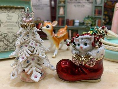 Ariels Wish日本精緻貴族立體雪白聖誕樹紅色聖誕襪貓咪款水鑽陶瓷收納盒戒指盒珠寶盒飾品盒擺飾盒附粉色禮盒兩款絕版