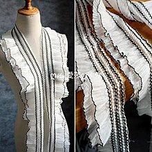 『ღIAsa 愛莎ღ手作雜貨』(50cm)雪紡蕾絲壓褶彈力裙擺窗簾幔服裝蕾絲袖口花邊輔料寬10cm