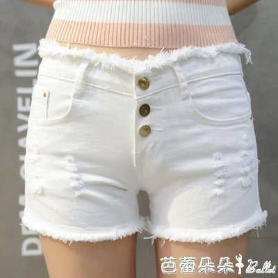 ZIHOPE 夏季大碼百搭寬管熱褲顯瘦毛邊輕熟夜店白色牛仔短褲女超短褲ZI812