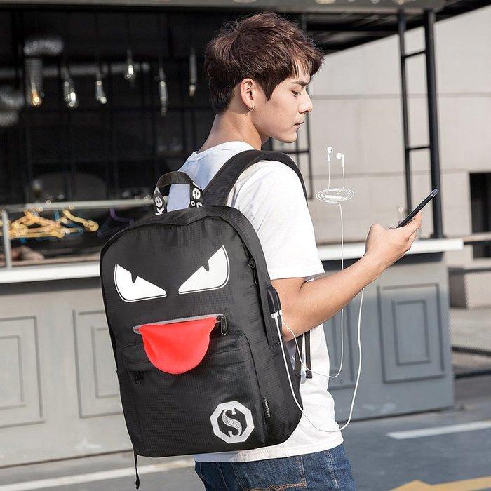 SX千貨鋪-創意旅行背包新款韓版夜光雙肩包男士中學生書包男時尚潮流#男士背包#書包#單肩包#書包