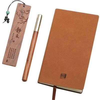 紅木質書簽套裝金屬簽字筆記事本創意木制中性筆商務高檔定制刻字