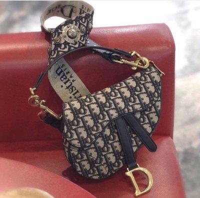 「已售出」全新台灣專櫃現貨! Dior Saddle Bag In Blue Canvas 復古 提花布 翻蓋馬鞍包 附 紙盒 購證影本