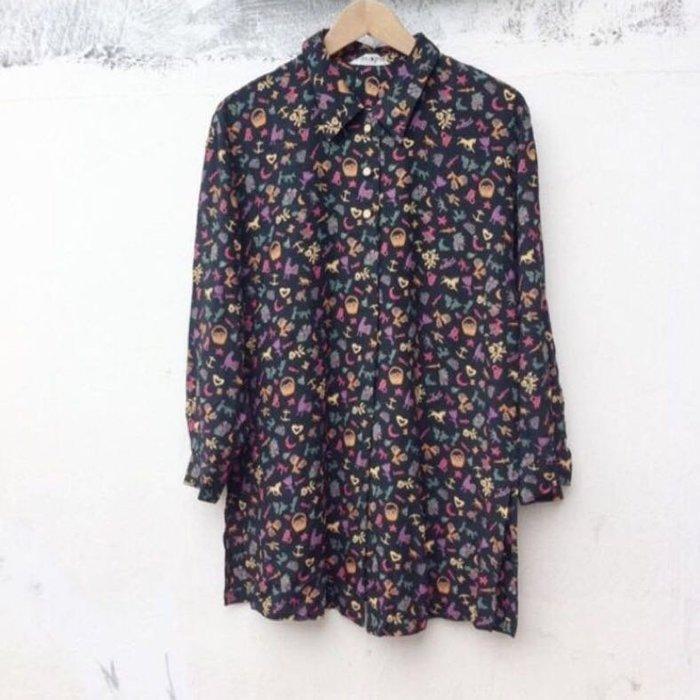 春夏日本製古著可愛圖案長版襯衫