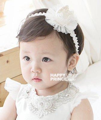 BHL067-韓劇童星愛用品牌HappyPrince 超可愛立體水鑽皇冠蕾絲寶寶嬰兒童髮帶【現貨】韓國製