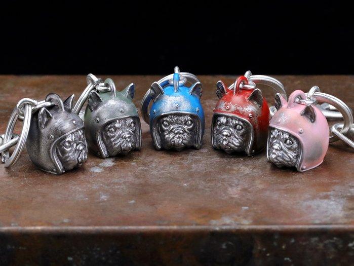 【Silver Monsters】台灣職人手作 KOPO METAL 動物安全帽鑰匙圈-露耳舔舌法鬥