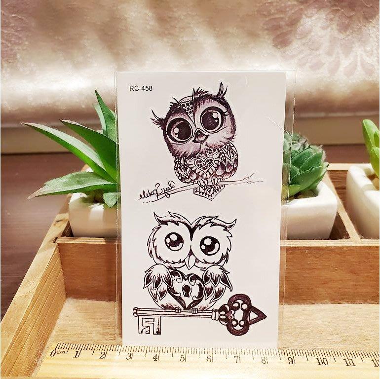 【萌古屋】可愛貓頭鷹 - 男女防水紋身貼紙刺青貼紙RC-458