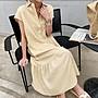 短袖洋裝 休閒馬卡龍魚尾裙子連身裙 棉麻襯衫領排釦短袖洋裝 艾爾莎【TAE8330】