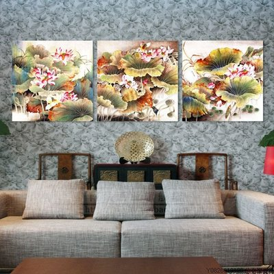 【厚1.2cm】【40*40cm】裝飾畫客廳現代臥室無框畫餐廳中式荷花【220110_1550】3聯畫