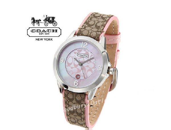 【Woodbury Outlet Coach 旗艦館】COACH 14501187 複古錶皮帶石英女手錶 帶日曆 粉盤