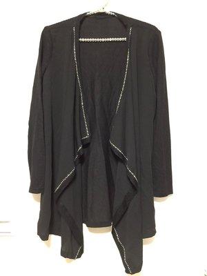 MOMA鉚釘珠珠雪紡接翻領針織罩衫外套