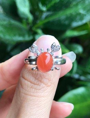 天然南紅瑪瑙戒指 南紅瑪瑙可愛小螃蟹造型925銀活圍戒指《舒唯水晶》