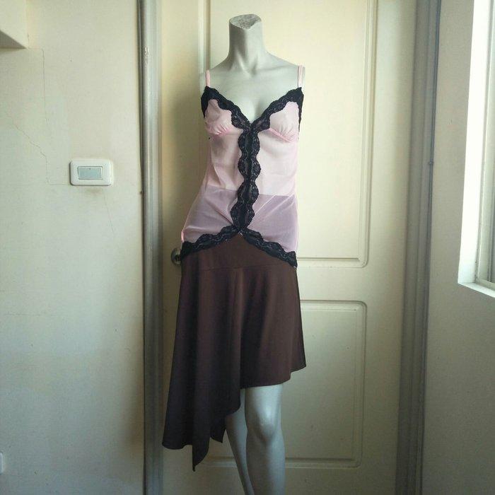 【onsale】黑色蕾絲邊采風極度誘惑睡衣粉色.細肩帶性感內衣-F