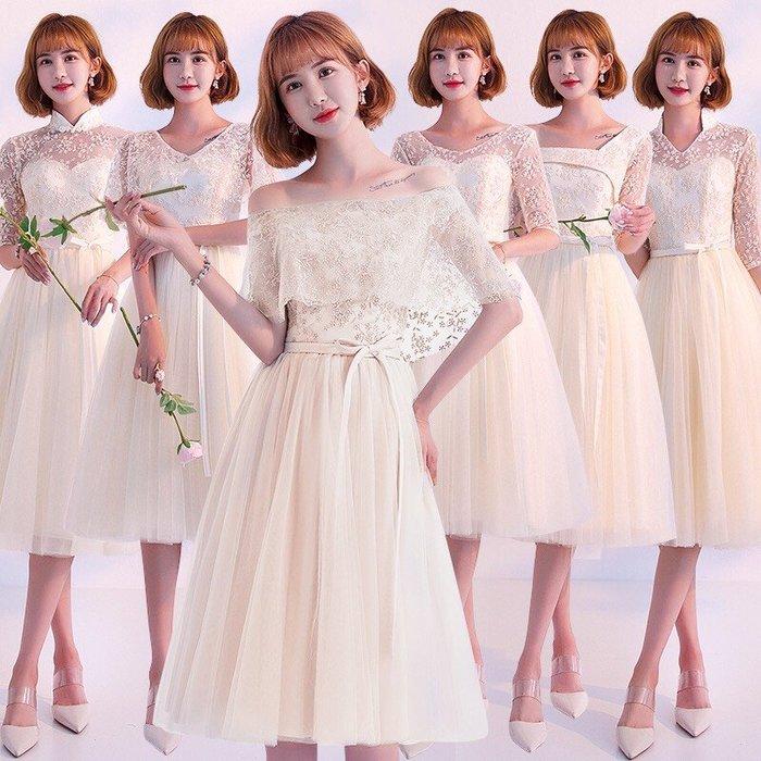 禮服伴娘服中長款新款香檳色韓版姐妹團修身顯瘦宴會晚禮服裙--崴崴安