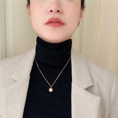 韓國Baby~【KAENA GAI】 定制小太陽ins風銅鍍金保色項鍊毛衣鍊鎖骨鍊 HJ
