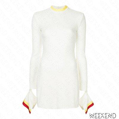【WEEKEND】 ELLERY 袖口切割 側邊開岔 長版 針織 長袖 上衣 白色 18秋冬