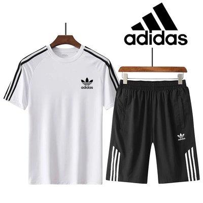 【兩件套】愛迪達 三葉草 adidas  正韓速乾跑步服 短袖T恤 韓版男女 透氣速乾 健身籃球足球運動服 非polo衫