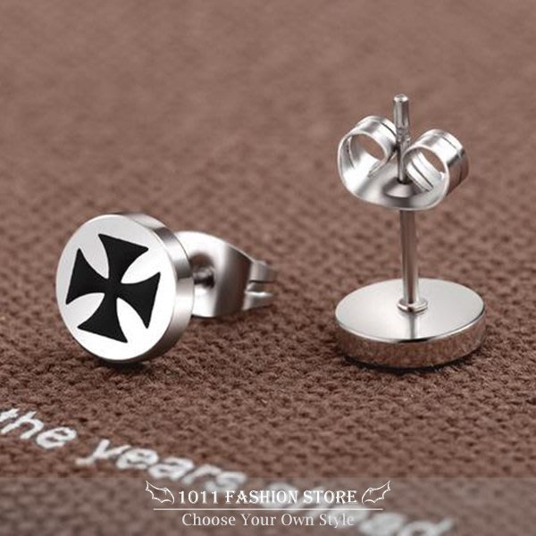 韓系 雙色 十字架 不鏽鋼 / 西德鋼 / 鈦鋼 男性 女性 耳環 / 耳釦 / 耳釘 ( 搖滾 / 重金屬) E18