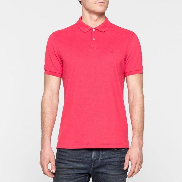 美國百分百【全新真品】Calvin Klein CK 短袖 POLO衫 Logo 素面 網眼 珊瑚紅 XS號 A942