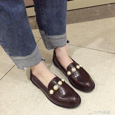 日和生活館 英倫風學院風小皮鞋女韓國早春樂福鞋S686