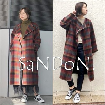 SaNDoN x『UNGRID』冬季簡約新品 無領設計格紋英倫感口袋大衣 外套  SLY 181001