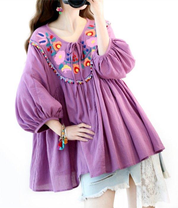 【子芸芳】民族風繡花燈籠袖寬鬆系帶棉麻襯衫上衣 娃娃衫