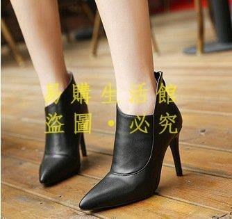 [王哥廠家直销]上腳超美 名媛最愛馬丁靴細跟后拉鏈尖頭短靴 女靴 4304 #嵐LeGou_1298_1298
