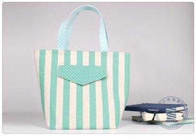 ✿小布物曲✿手作 條紋郊遊包- 精巧手工車縫製作 進口布料質感超優-綠色