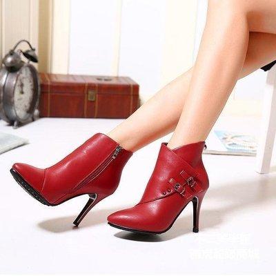 【格倫雅】歐美英倫風柳釘皮帶搭扣9.5cm超高跟細跟尖頭女短靴20303[g-l-y40