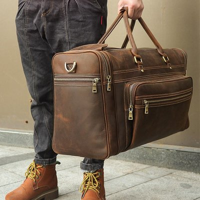 [包妳喜歡]瘋馬皮旅行包男士手提包大容...