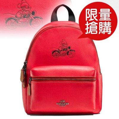 COACH 後背包小迪士尼聯名款米奇皮革(紅)