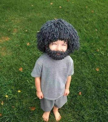 野人裝扮帽【NF604】成人/兒童 野人假髮鬍子趣味造型帽萬聖節派對寒流保暖毛帽角色扮演