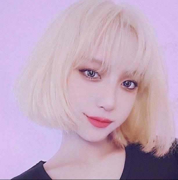 Q806-假髮女金色短髮韓國妹子短直發隱形無痕假髮套圓臉可愛網紅鎖骨發#韓式發型#