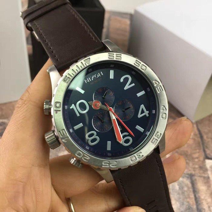 全新原裝正品美國 NIXON 尼克森 咖啡色皮帶三眼男錶 51-30 A124879 手錶 超大錶面 超酷 低血價