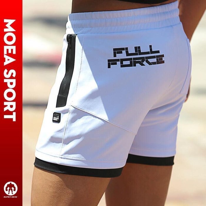 【OTOKO Men's Boutique】MOEA墨立方訓練運動健身短褲/五分褲/白色(台灣獨家代理)