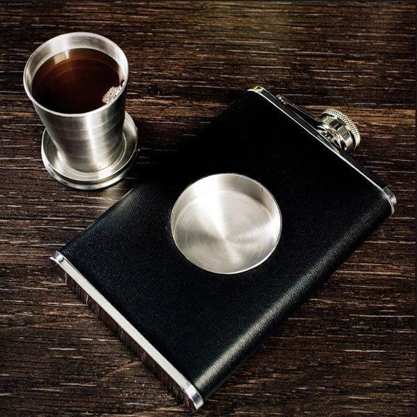 5Cgo【批發】含稅會員有優惠 521185332920 SQ圣喬伊德式伸縮杯8盎司白貼皮不鏽鋼酒壺隨身戶外便攜男士禮品